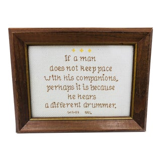 Vintage Cross Stitch Saying in Frame For Sale