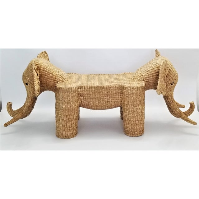 Mario Lopez Torres Mario Lopez Torres Elephant Bench - Signed 1974 -- Palm Beach Boho Chic Mid Century Modern Wicker Seagrass Animal For Sale - Image 4 of 13
