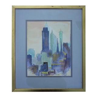 Dreamy Watercolor Cityscape For Sale