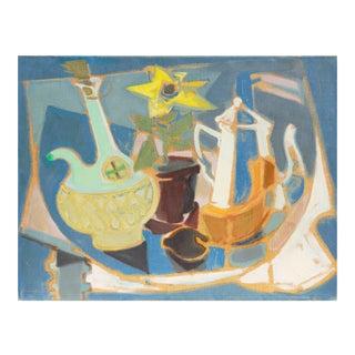 'Chianti Bottle and Sunflower' by Gudmund Olsen, 1949; Salon D'Automne, Paris, Mid-Century Danish Post-Impressionist Still Life