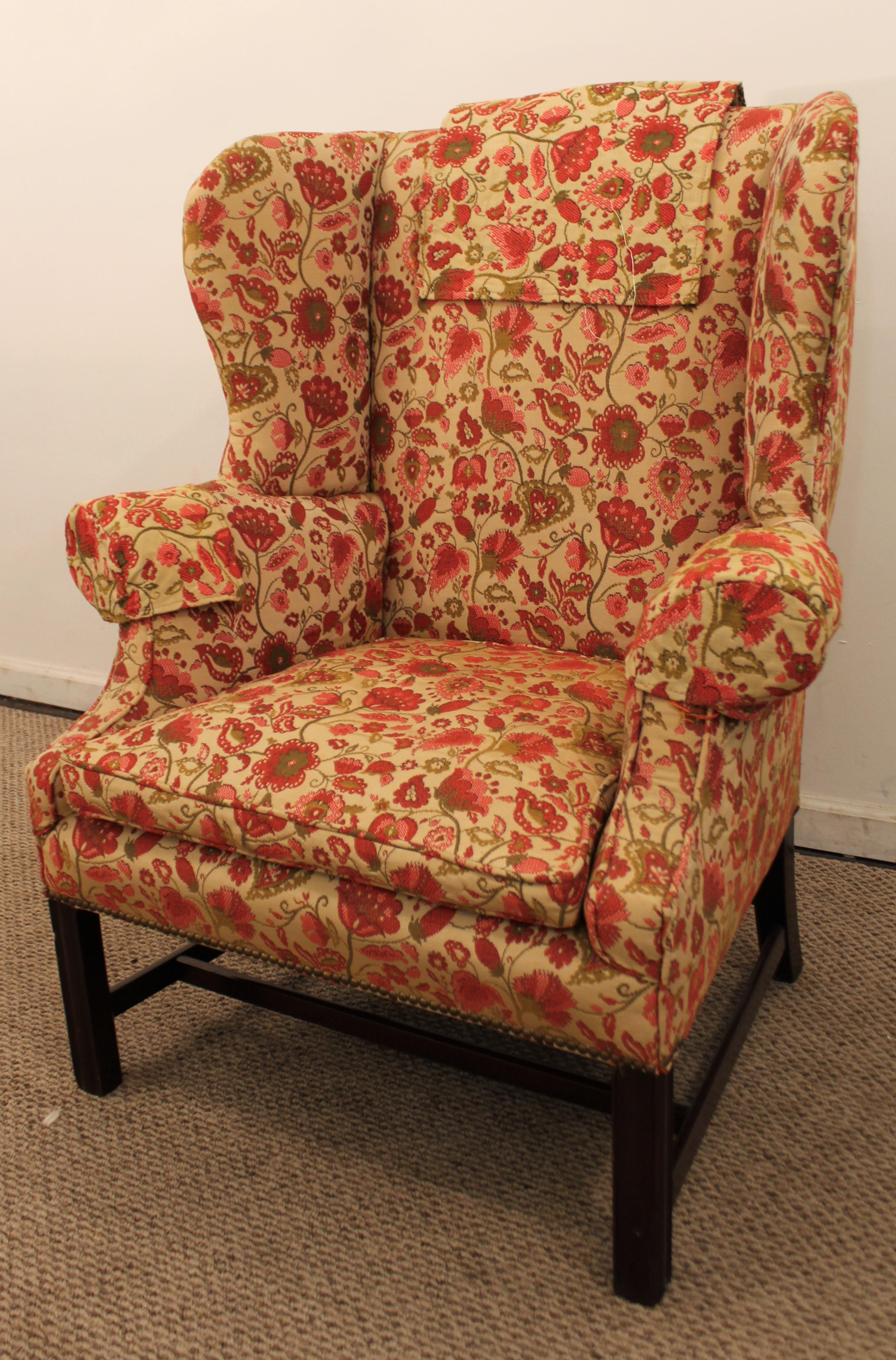 Chippendale Straight Leg Down Filled Cushion Fireside Wingback Chair    Image 2 Of 11