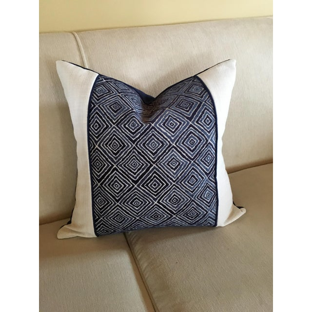 Robert Allen Blue & White Geometric Fabric Accent Pillow Covers - A Pair For Sale - Image 10 of 11
