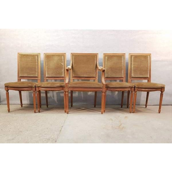 Set of Five French Louis XVI Square Back Vintage Dining Chairs 4 Side Chairs and 1 Armchair For Sale - Image 13 of 13