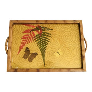 Vintage Tray Bamboo Handles Pressed Butterflies