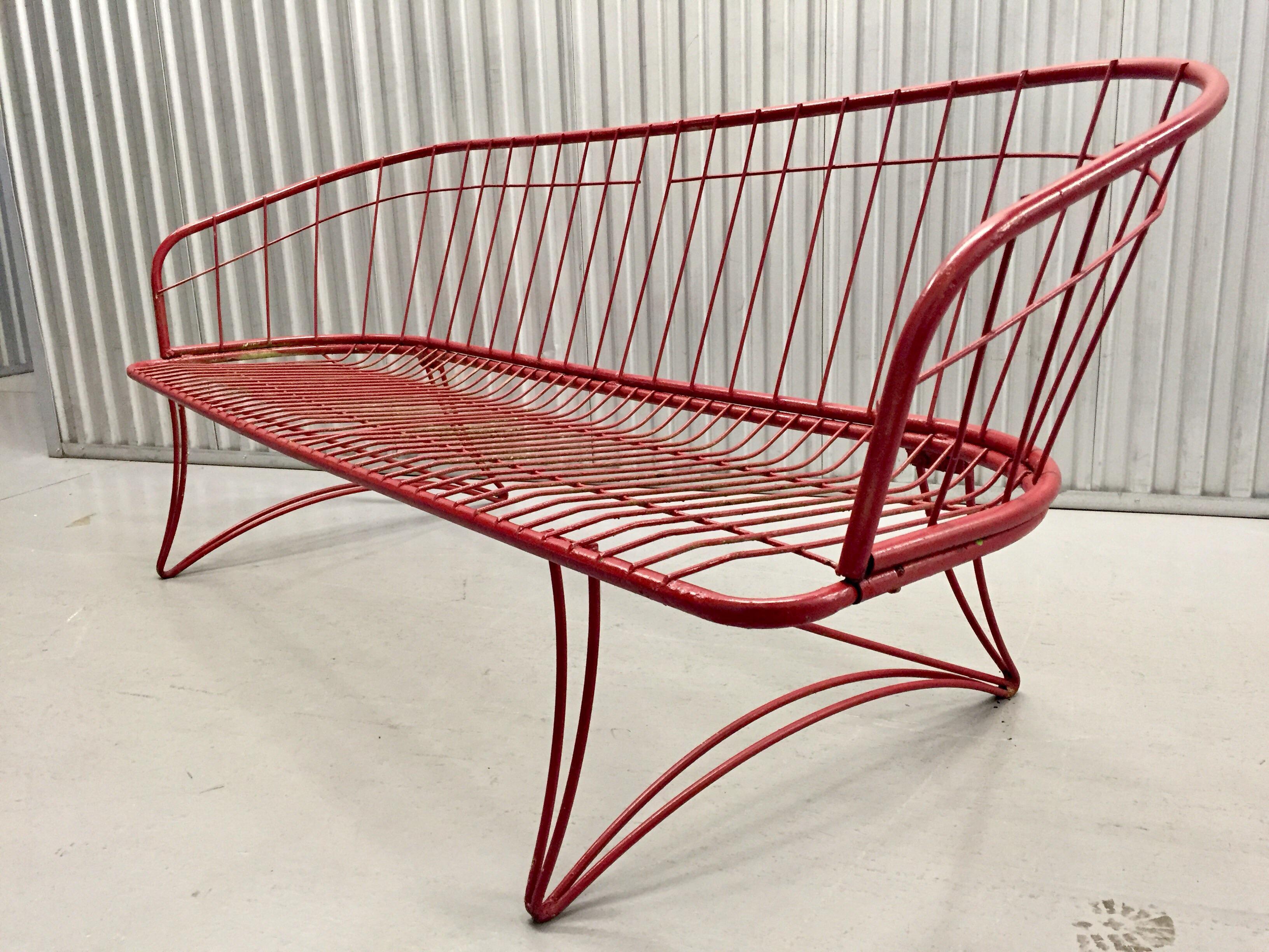 modern metal outdoor furniture. Homecrest Mid-Century Modern Metal Patio Sofa - Image 2 Of 10 Outdoor Furniture M