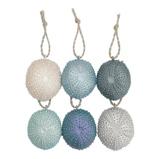 Sea Urchin Christmas Ornaments in Ocean Blues - Set of 6 For Sale