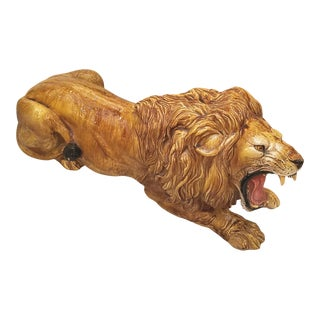 Large Italian Hollywood Regency Glazed Terra Cotta Lion Figurine Leo For Sale
