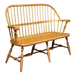 Vintage Ethan Allen 1776 Solid Maple Deacons Bench Windsor Back Settee For Sale