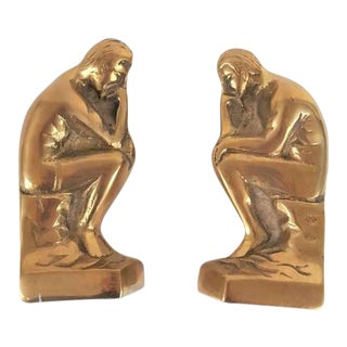 "1970s Rodin Hollywood Regency Style Brass ""The Thinker"" Bookends - a Pair For Sale"
