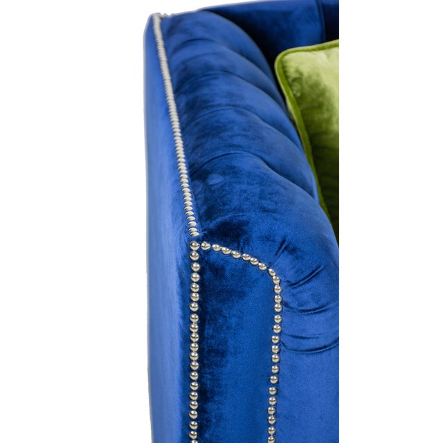 Pasargad Victoria Collecion Royal Blue Velvet Sofa For Sale In New York - Image 6 of 7