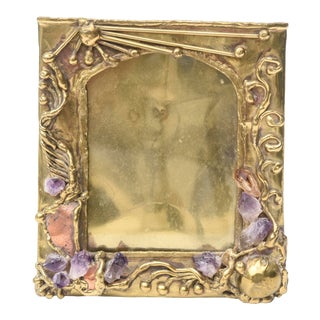1970s Brutalist Hand Wrought Brass, Amethyst and Quartz Vintage Picture Frame For Sale