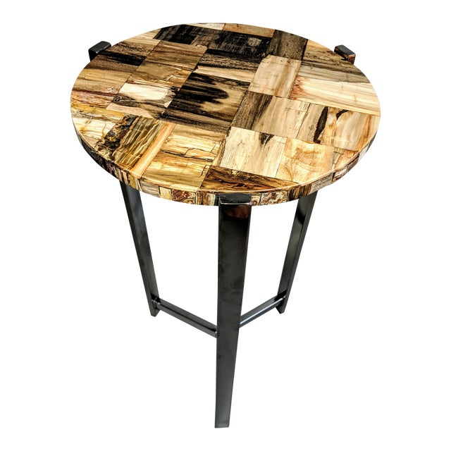 Organic Modern Petrified Wood and Chrome Side Table For Sale