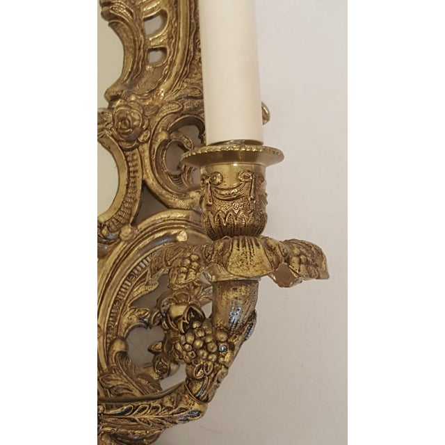 Antique Louis XVI Etched Gold Gilt-Bronze Mirrored Candelabra Wall Sconces - a Pair For Sale In Phoenix - Image 6 of 13