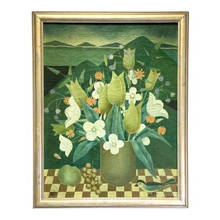 1935 Floral Still Life of Flowers in a Green Vase Oil Painting by Karola Bergman, Framed For Sale