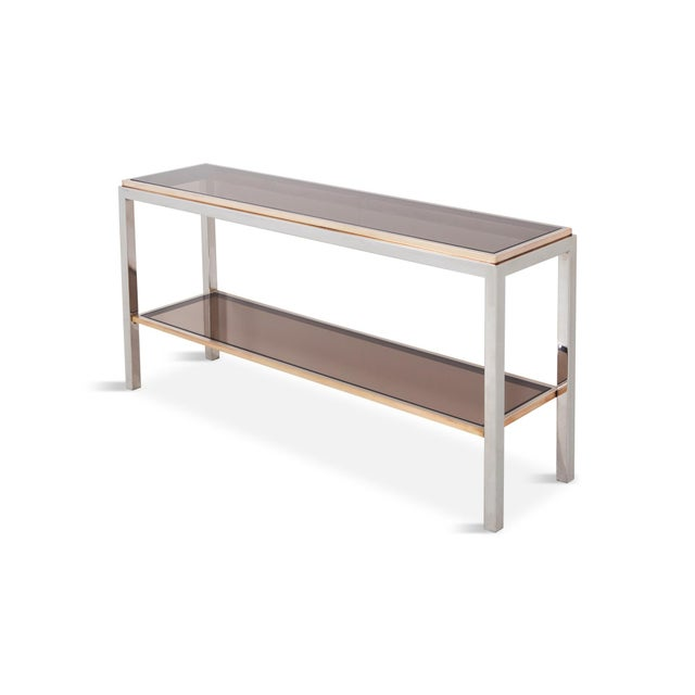 Gold Willy Rizzo Two-Tier Console Table in Chrome and Brass Linea Flaminia For Sale - Image 8 of 8