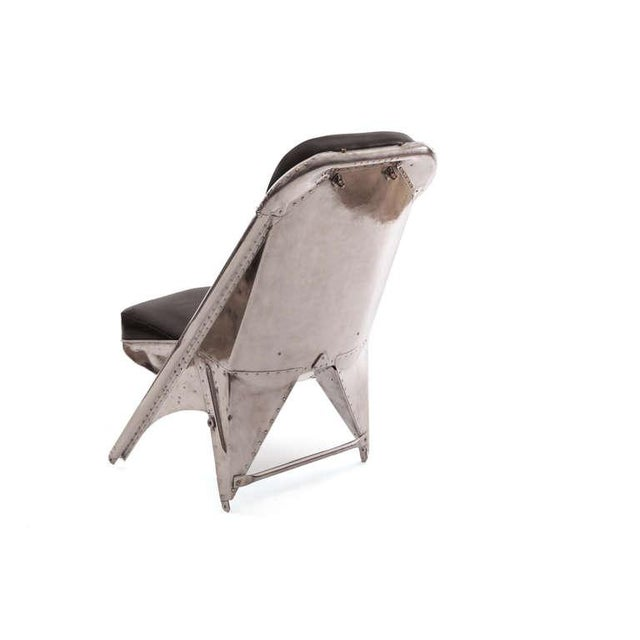 1940s Mid-Century Modern Riveted Aluminum and Leather Cessna Chairs - a Pair For Sale In Phoenix - Image 6 of 9
