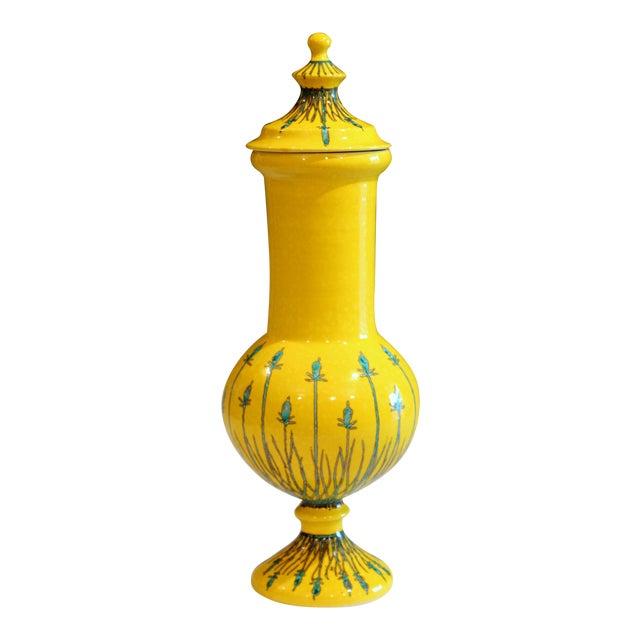 Vintage Italian Mancioli Pottery Yellow Covered Raymor Jar For Sale