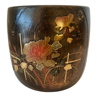 Antique Japanese Makie Hibachi, Kiri Wood, & Lacquer Inlay, C1870-1910 For Sale
