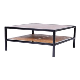 Square Two-Tiered Coffee Table with Caning For Sale