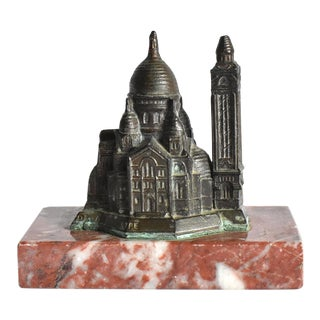 Antique French Sacre Coeur Montmartre Souvenir Paperweight For Sale