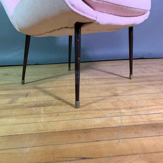 1950s Italian 1950s Boudoir Chair, Pink Felted Wool For Sale - Image 5 of 11