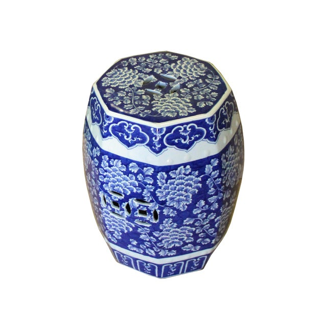 Ceramic Chinese Blue & White Porcelain Floral Theme Octagon Stool Table For Sale - Image 7 of 8