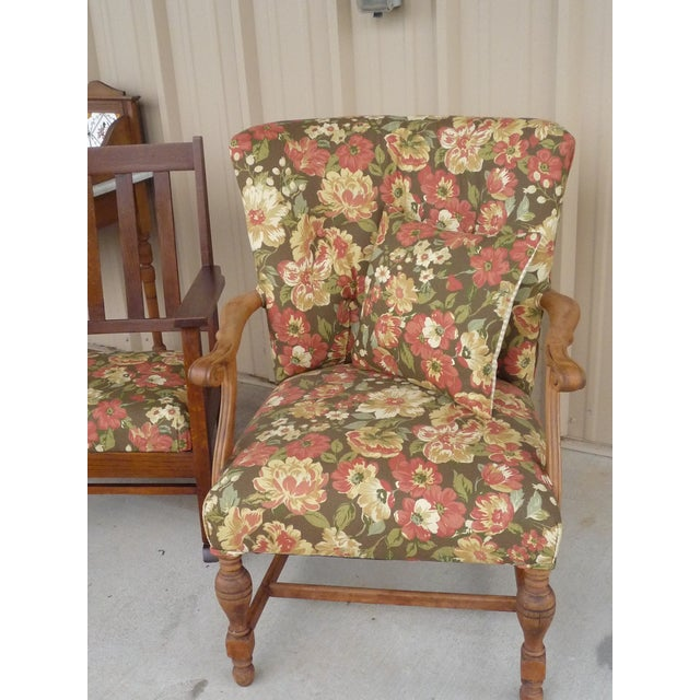 Antique Brown Floral Tufted Armchair & Petite Oak Rocking Chair - A Pair For Sale - Image 4 of 9