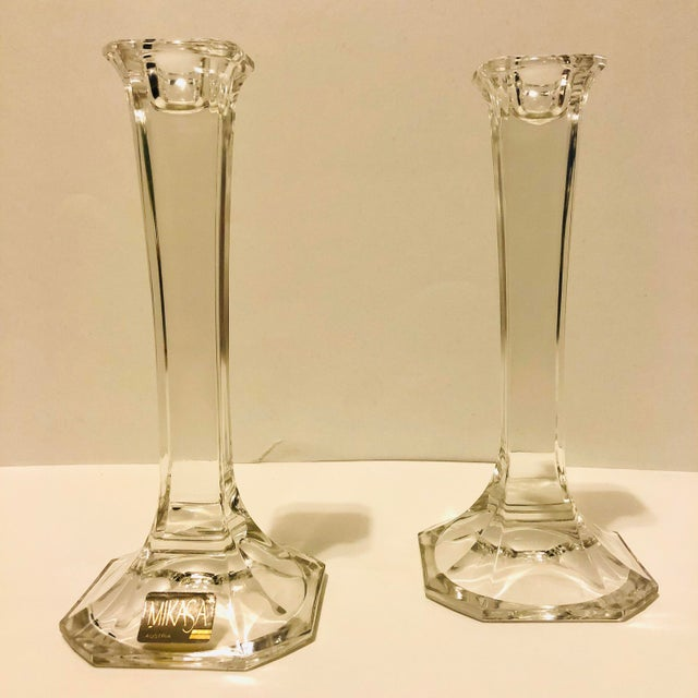 Superb pair of cut crystal candleholders from the Hyde Park collection by Mikasa (as labeled). Classically styled and...
