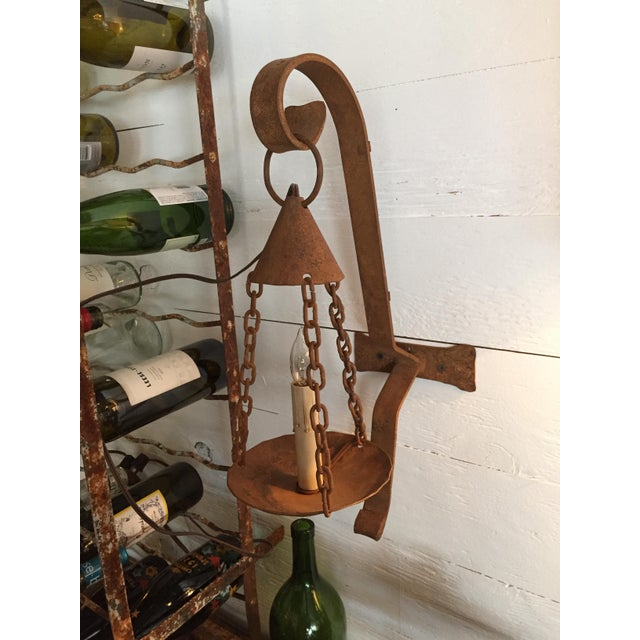 Early 20th Century Vintage Iron Electrified Sconce For Sale - Image 5 of 6