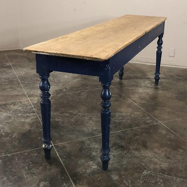 Antique 19th Century Painted Sofa Farm Table With Stripped Top For Sale - Image 4 of 13