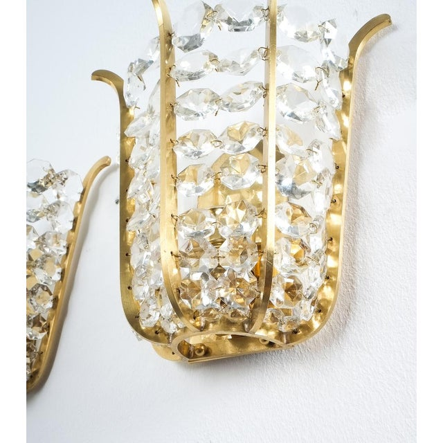 Mid-Century Modern Pair of Bakalowits Crown Sconces Brass and Glass, Austria 1955 For Sale - Image 3 of 8