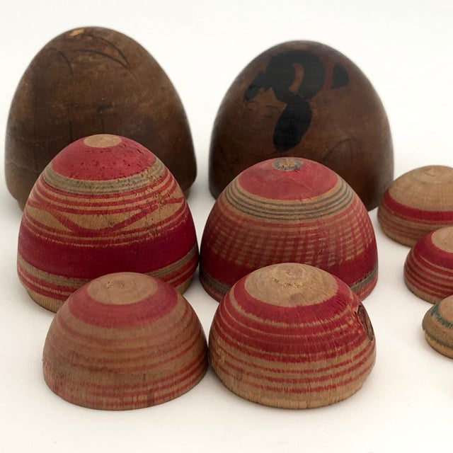 Vintage Mid-Century Japanese Hand-Painted Wooden Nesting Eggs - Set of 7 For Sale - Image 9 of 13