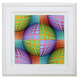 Mid-Century Modern Large Pop Op Art Framed Lithograph by Victor Vasarely 275/300 For Sale