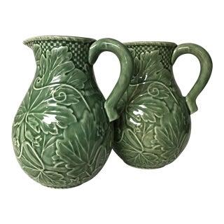 20th Century Bordallo Pinheiro Majolica Green Ceramic Grapevine Caraffes - a Pair