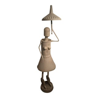 Industrial Woman With Umbrella Sculpture For Sale