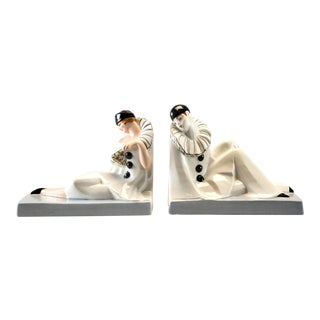 Pair French Porcelain Art Deco Pierrot and Columbine Book Ends