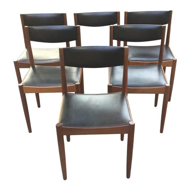 Danish Modern Teak and Black Vinyl Dining Chairs - Set of 6 - Image 1 of 11