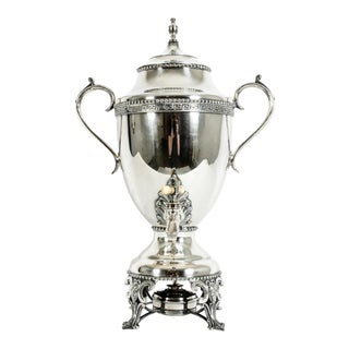 Late 19th Century English Silver Plated Footed Samovar For Sale
