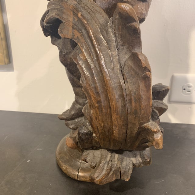 Brown 18th Century Antique Wood Carved Statue For Sale - Image 8 of 13