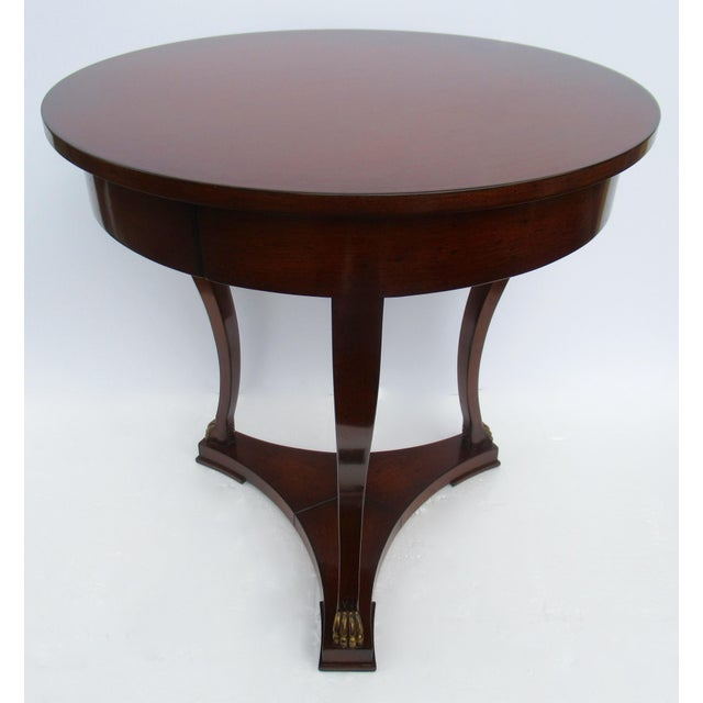 "Nancy Corzine C.1998 Nancy Corzine -Round English Walnut ""DeSilva"" Side Table, With Gilt Paw Feet & Single Drawer For Sale - Image 4 of 13"