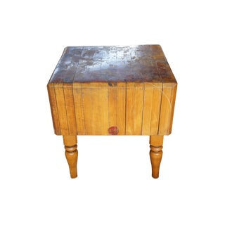 19th Century Rustic Masterbuilt Wood Welded Butchers Block For Sale