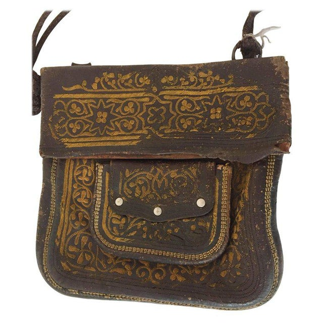 Leather Moroccan Berber Bag For Sale In Los Angeles - Image 6 of 6