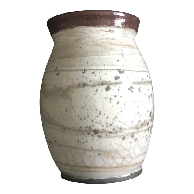Cream Spotted Studio Pottery Vase - Signed For Sale