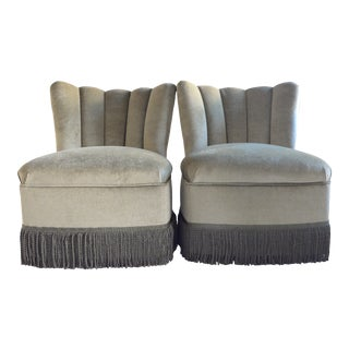 Mid Century Slipper Chairs Newly Reupholstered in Moss Mohair For Sale