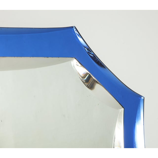 Vintage Mid-Century Modern Mirror With Cobalt Blue Borders For Sale - Image 4 of 7