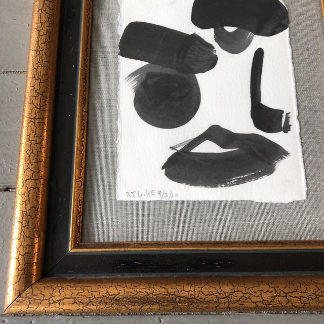 Contemporary Original Contemporary Robert Cooke Abstract Face Painting Vintage Frame For Sale - Image 3 of 5