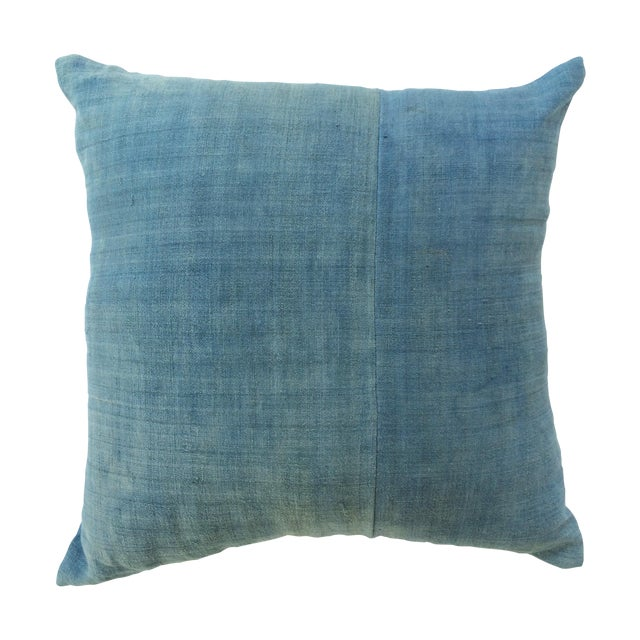 Hand Woven Light Blue-Indigo Hemp Pillow - Image 1 of 3