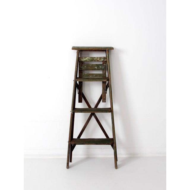 Vintage Green Wood Ladder For Sale - Image 6 of 9