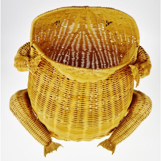 Vintage Natural Wicker Frog Planter Basket For Sale - Image 12 of 13