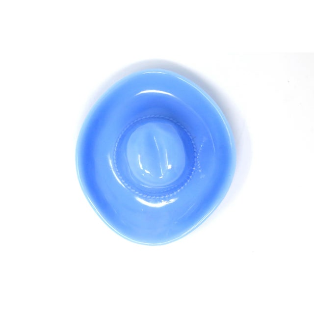 32535462f680e Cottage Vintage Delphite Blue Milk Glass Cowboy Hat Ashtray For Sale -  Image 3 of 12